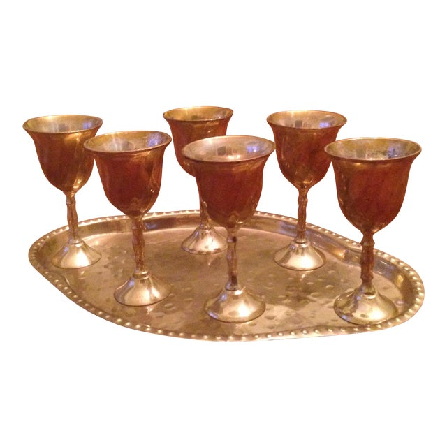 Vintage Brass Cordial Glasses and Tray - Set of 7 - Image 1 of 11