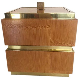 Wood & Brass Square Ice Bucket