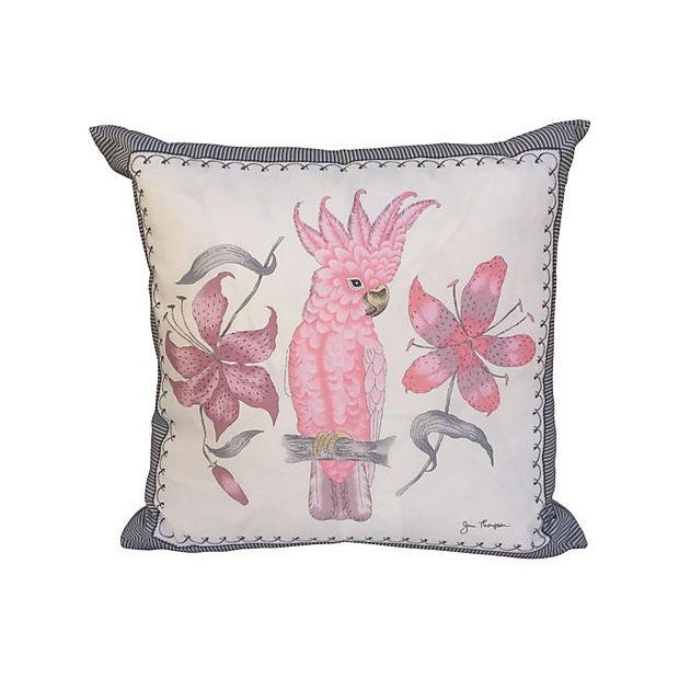 Image of Pink Cockatoo Silk Scarf Pillows- A Pair