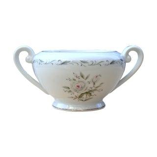 Vintage Porcelain Floral Silver Trim Sugar Dish