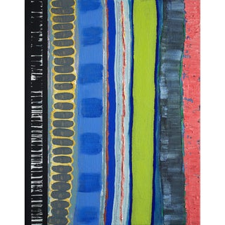 'Pioneer Prints' Blue Acrylic & Oil Painting