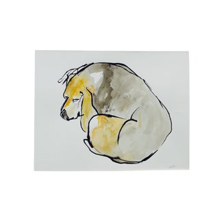 Contemporary Martha Holden Beagle Sleep Watercolor Painting