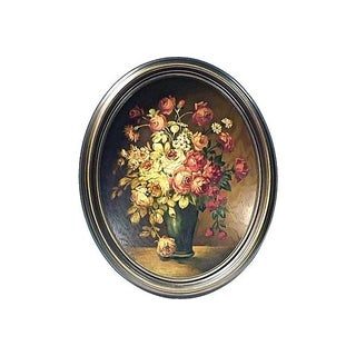 Antique Oval Roses Oil Painting on Wood