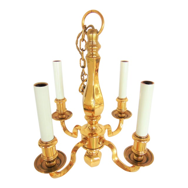Vintage Baldwin Brass 4 Light Chandelier | Chairish