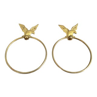 Vintage Brass Eagle Towel Rings - A Pair