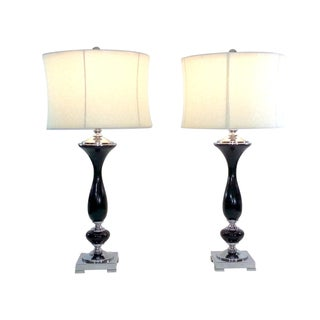 Contemporary Table Lamps in Chrome - A Pair