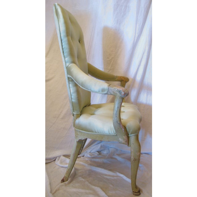 Image of Pale Green Painted Victorian Armchair