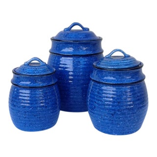 Rustic Farmhouse Stoneware Containers - Set of 3