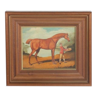 Pair of William Skilling Oil Paintings on Canvas of a Horse and Attendant