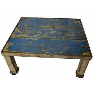 Worn Blue-Painted Coffee Table