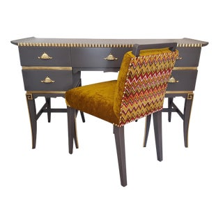 Asian-Styled Desk & Chair in Gray and Gold Leaf