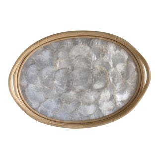 Mother of Pearl Shell Inlay Bamboo Tray