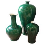 Image of Emerald Green Asian Ceramic Vases - Set of 3