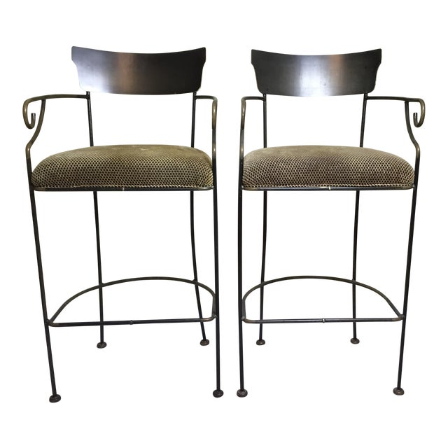 Wrought Iron Bar Stools - A Pair - Image 1 of 11