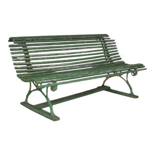 19th Century Swedish Green Slatted Garden Bench