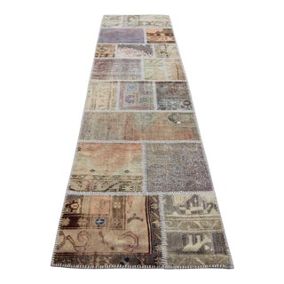 Vintage Turkish Overdyed Patchwork Oushak Distressed Rug - 2′8″ × 10′