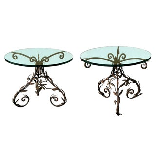 Lively Pair of Italian Wrought Iron Circular Tripod Side Tables