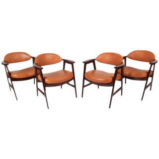 Mid-Century Modern Vinyl Dining Chairs - Set of 4
