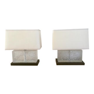 Donghia Solid Crystal Square Lamps - a Pair