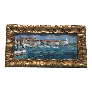 French Oil Painting of a Sailboat