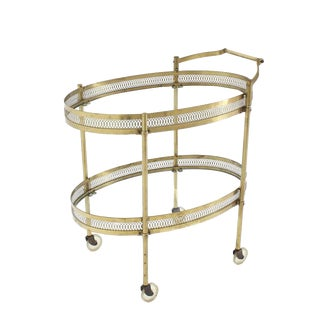 Oval Pierced Brass & Glass Two-Tier Tea Serving Cart on Wheels