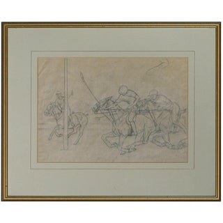"""""""Three Polo Players"""" Drawing"""