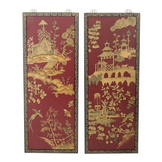 Decorative Chinese Red & Gold Wall Panels - Pair