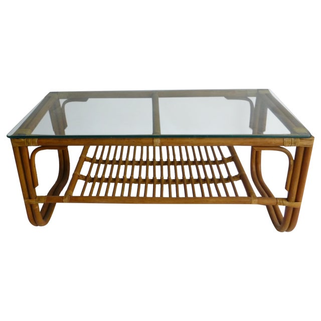 Vintage Mid-Century Bamboo Coffee Table - Image 1 of 9