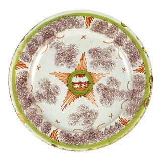 Antique English Bristol Delftware Star Plate, Circa 1740-50.