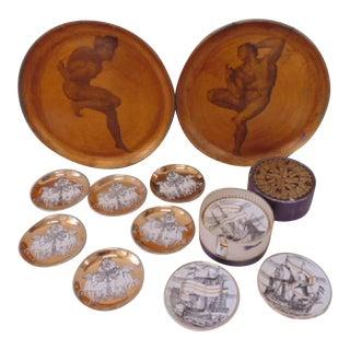 Piero Fornasetti Gilded Coaster & Plate Set