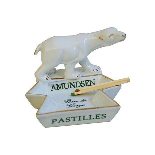 Image of French Porcelain Amundsen Match Striker Ashtray