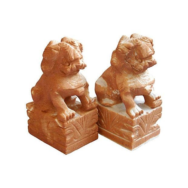 Carved Solid Marble Foo Dog Bookends - Pair - Image 1 of 7