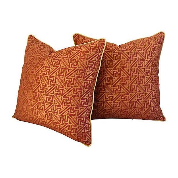 Custom Italian Mariano Fortuny Simboli Feather/Down Pillows - Pair - Image 7 of 10