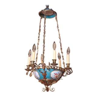 19th Century French Six-Light Porcelain & Brass Handpainted Sevres Chandelier