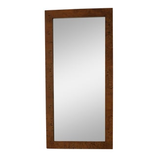 Vintage Rectangular Burl Wood Veneer Mirror