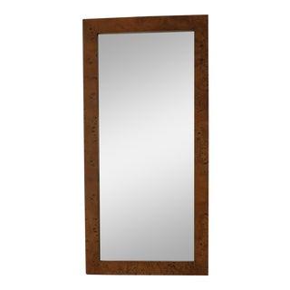 Vintage Rectangular Burl Wood Veneer Mirror