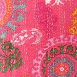 Image of Pink Hand Block Kantha Throw Pillow