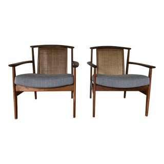 Dux of Sweden Mid-Century Cane Chairs - A Pair