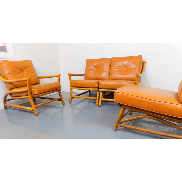 Vintage Naugahyde Mid-Century Modern Bamboo & Brown Vinyl Sofa Set - 3 Pcs. - Image 5 of 11