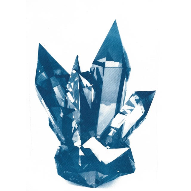 Blue Geometric Crystals Cyanotype Print - Image 1 of 2