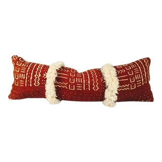 Mud Cloth Fringed Lumbar Pillow Cover