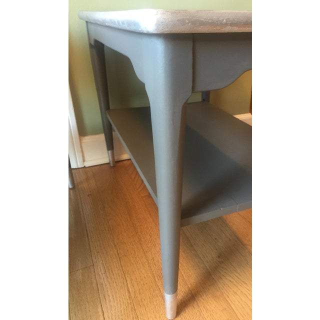 Mid-Century Gray & Silver End Tables - A Pair - Image 5 of 5