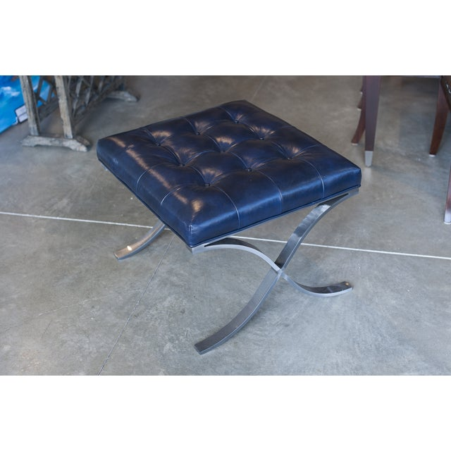 Tuft Navy Blue Genuine Leather Ottoman - Image 2 of 4