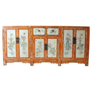 Mongolian Six Door Hand Painted Elm Cabinet