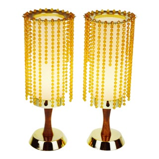 Vintage Mid-Century Beaded Table Lamps - A Pair