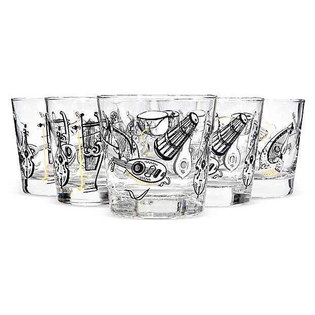 60s Musical Glass Tumblers - Set of 6 - Image 1 of 3