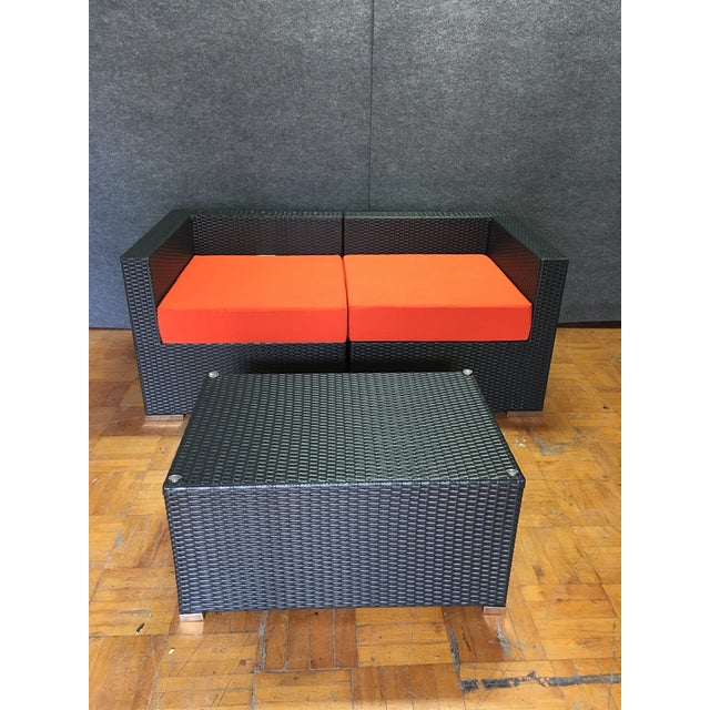 Outdoor Wicker Loveseat & Coffee Table - Image 2 of 6