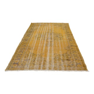 Oversize Handwoven Turkish Oushak Wool Yellow Rug - 6′3″ × 9′8″