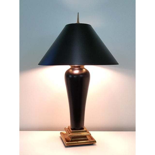 Image of Chapman 1980s Art Deco Revival Black Ceramic Lamp