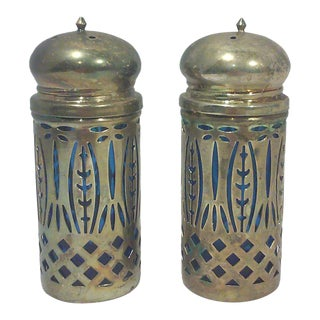 Silver-plated Cobalt Blue Glass Salt and Pepper Shakers-A Pair